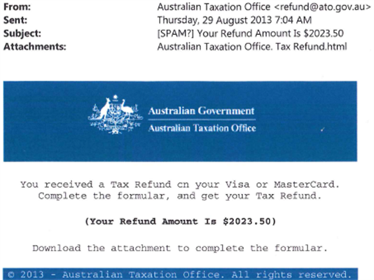 Tax Refund Scam DON'T click any links